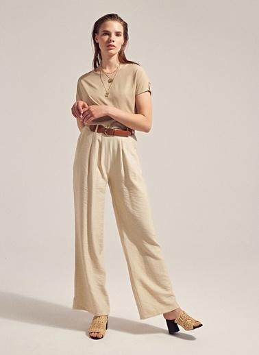 Monamoda Cepli Relax Fit Bol Pantolon Taş